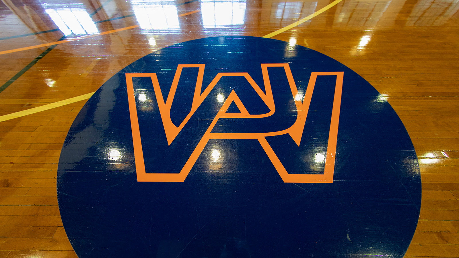 WAU athletics court with logo