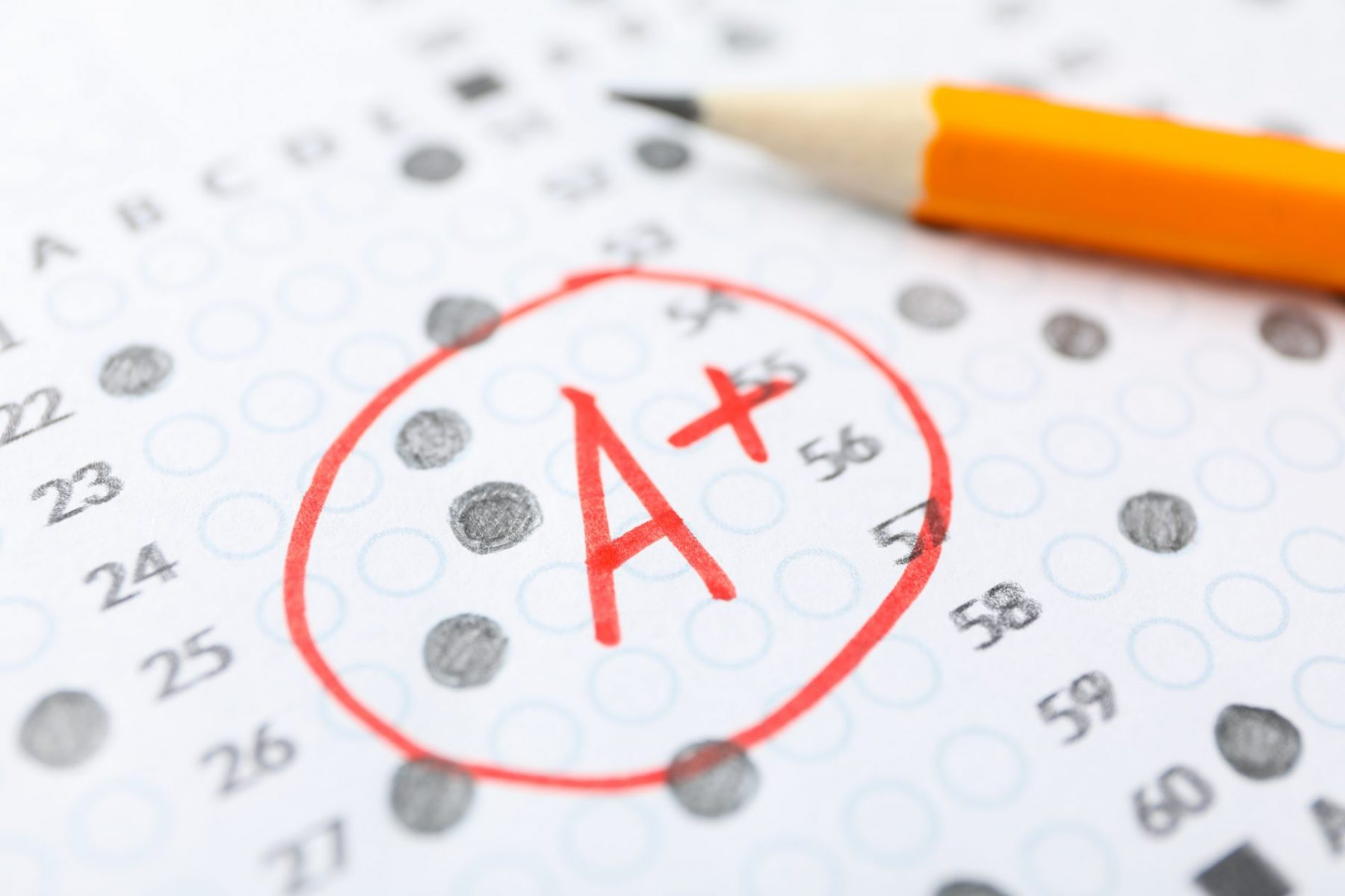 An image of a test page with an A Plus
